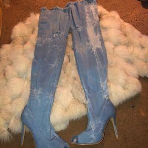 Jean thigh high heel boots